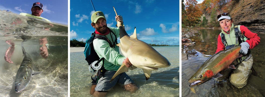 Belizean guide Wil Flack sets free what he loves in hopes it will some day come back (Ambergris Caye, Belize). By Jim Klug   Risky business. Carefully releasing a blacktip shark in the Seychelles. By Jim Klug   Cathy Beck with a fall Erie steelhead. By Barry Beck