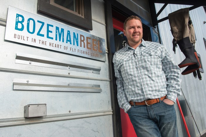 Dan Rice, owner of Bozeman Reel, stands outside the production facility in Bozeman, Montana.