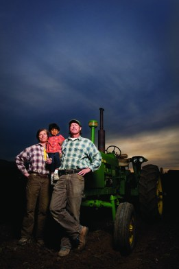 """Farmers Caroline and Mark Rehder (pictured with their son Zac) teamed up with fellow producer Dean Williamson to create Root Cellar Foods, a produce processing plant that will deliver """"recipe-ready"""" foods to local restaurants."""