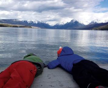 Anders and Finn check out what's beneath the surface of Lake McDonald in Glacier National Park.