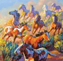 """Mustang Madness""   Larry Pirnie   30"" x 30"""