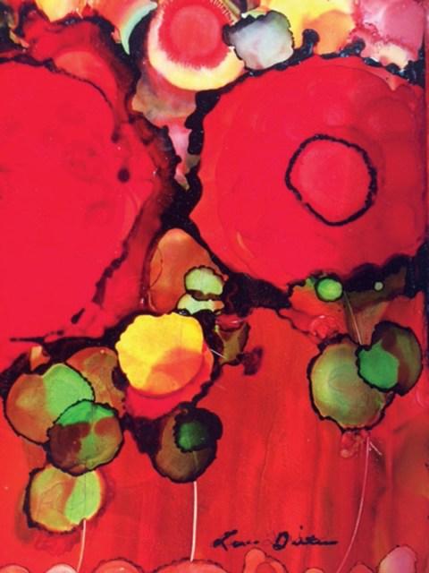 """Poppies"" | Ink Alcohol on Yupo Paper | Lana Bittner"