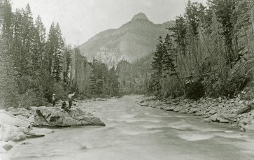 Recreational fishing on the Gallatin River, looking downstream toward Castle Rock. Photo courtesy of Pioneer Museum, Bozeman, Mont.