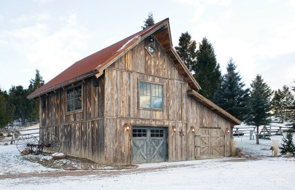 "A ""combination barn"" serves as a garage, shed, and guest quarters."