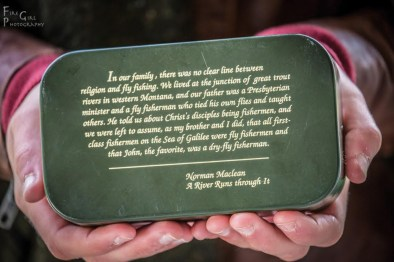 """A fly box inspires the group with a classic quote from """"A River Runs Through It."""""""