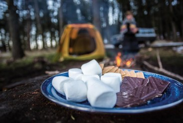 No road tripping campsite is complete without a round of s'mores and a campfire.