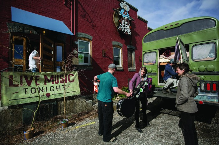 The Shook Twins unload their gear for a Live From the Divide show in Bozeman last May