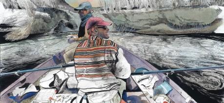 Montana guide Jeremy Garrett rowed Unruh and a friend down the Beaverhead River.