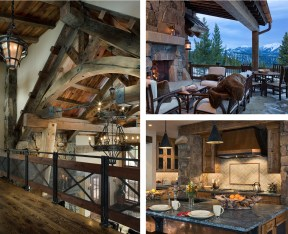 """left: A forged iron """"rail bridge"""" spans the second floor, giving a reverent nod to Yellowstone National Park's historic Old Faithful Inn's multi-leveled balconies in the lobby, while also redefining rustic style in this new mountain lodge. upper right: Ce"""