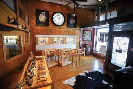 The interior of The Montana Watch Company's showroom in Livingston, Montana.