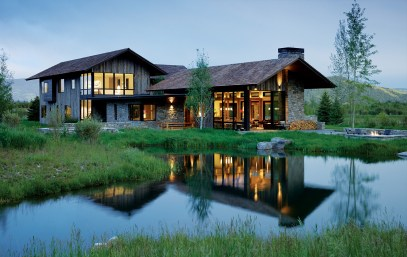 A pond outside provides an element of country living within a stone's throw of Jackson Hole Mountain Resort.