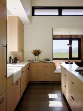Sleek, simple lines define the home's kitchen.