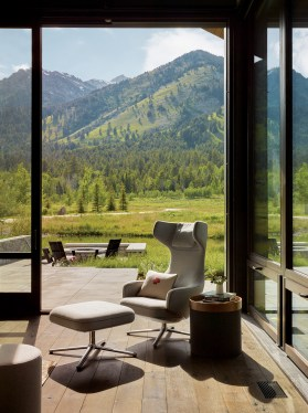 An expansive 12-foot wide and 14-foot high lift and slide door opens up the inside of the home and provides an element of indoor-outdoor living.
