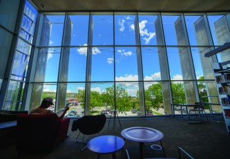 The northeast corner on the second floor features a 22-foot wall of windows, allowing visitors a view of Billings and plenty of light to read by.