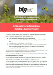 Getting started in fundraising - Building a Case for Support