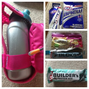 Some of my favorite things, some are old favorites (Gu Roctane, and Tropical Punch Shot Bloks, & Builders Bars)- I plan to incorporate the handheld more, and the Gu Brew, and the Power Bar Chews.