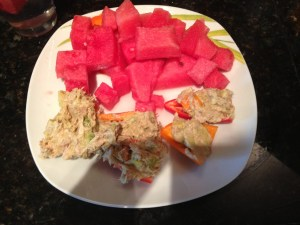 Tuna (chunk light in water), with mustard, &n Greek Yogurt, avocado, chopped sweet peppers- spooned into halved peppers, with watermelon