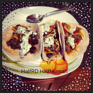 """The finished product- beef and pepper tacos with mushrooms, and a cilantro """"cream"""""""