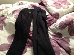 Left: Reebok compression pants- I LOVE these they are so versatile I can even roll them up and wear them as capris, they are tight(er) to my skin, but not wicked tight- I feel comfortable wearing them on their own, or layering the pants on the right on top of.  The pants on the right are Under Armour Storm- I they are thicker and super warm, and supposed to worn to keep wet weather at bay.