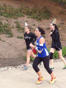 Pushing it to the end!  Only .1 mi and a hill separating me from a bagel, and a medal