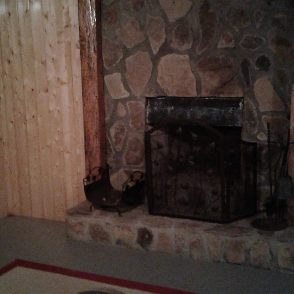 Downstairs wood burning fire place