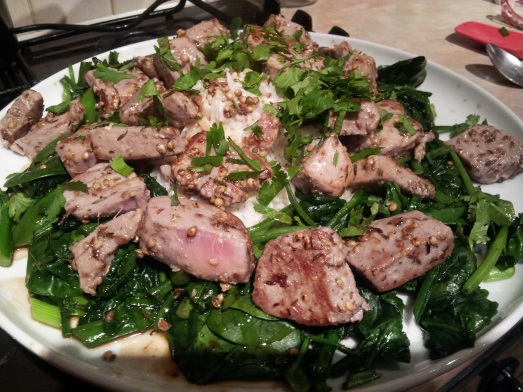 tuna with greens and coconut rice