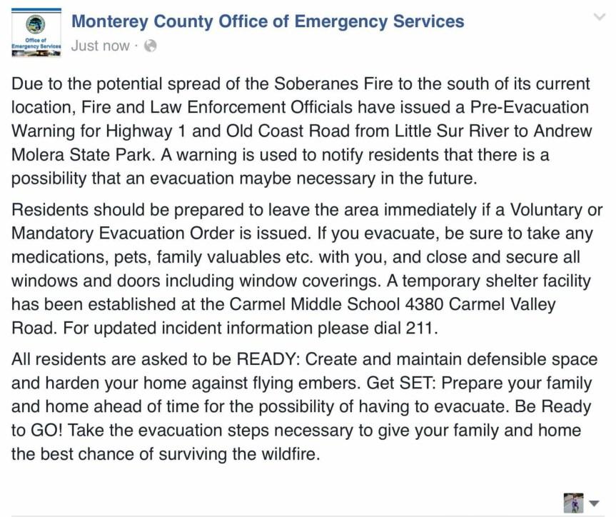 MCOES issues an evacuation warning