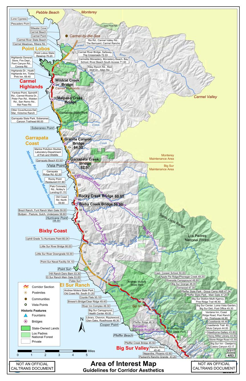 Map Of Big Sur Big Sur Interactive Highway Maps with Slide Names & Mile Markers