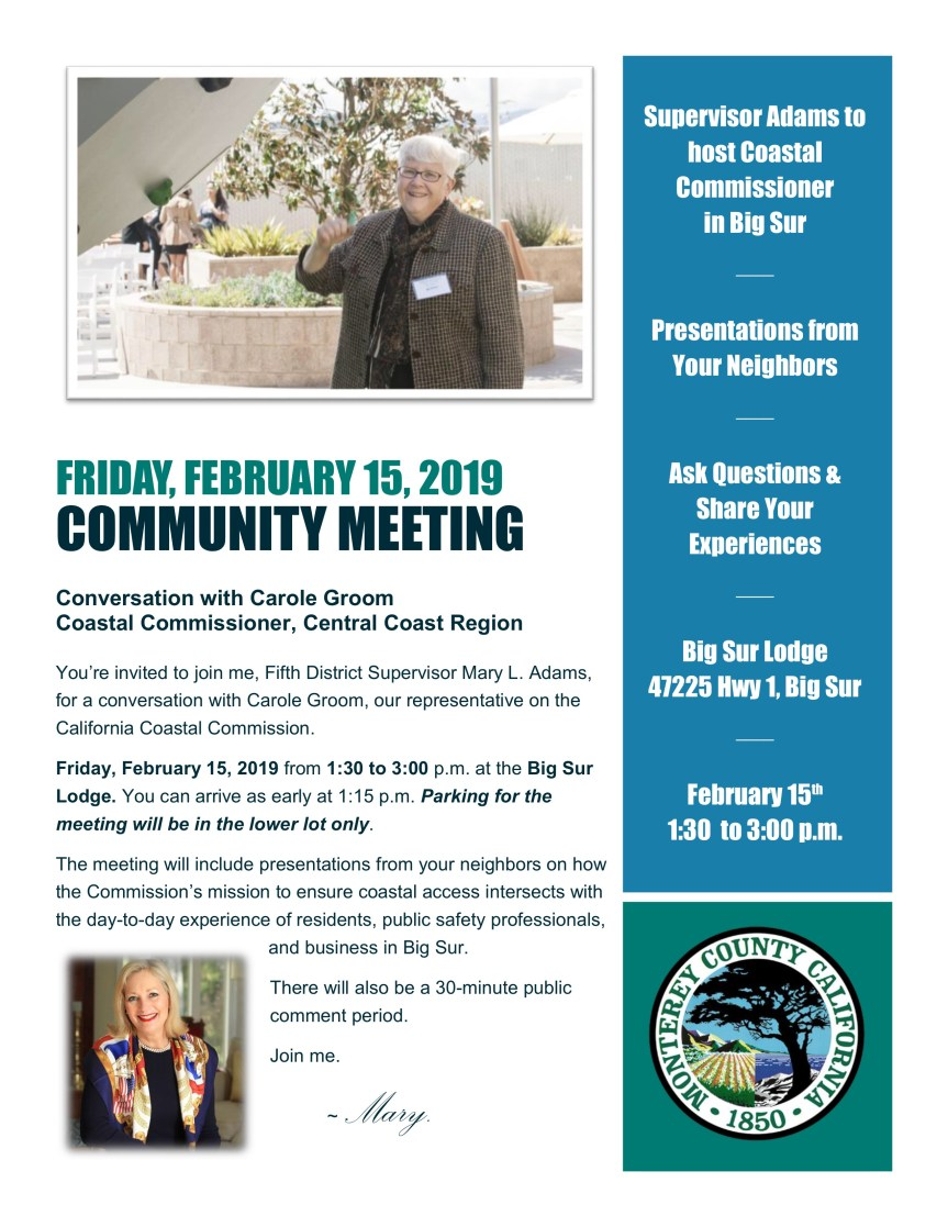 Community Meeting with a Coastal Commissioner