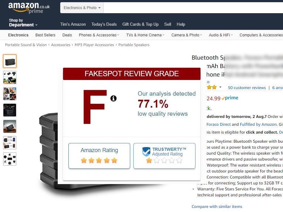 Fake Amazon reviews