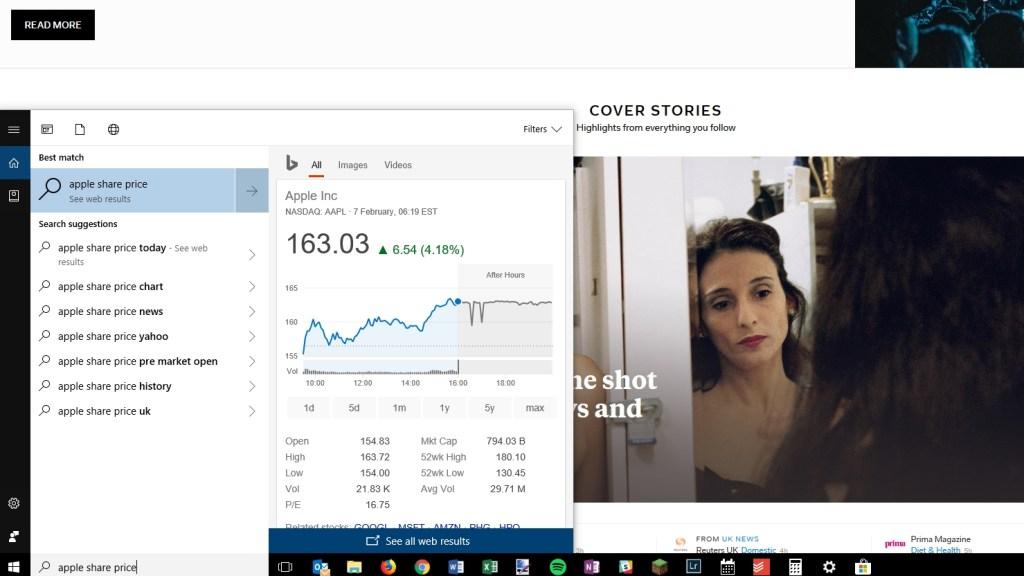 Windows 10 share price