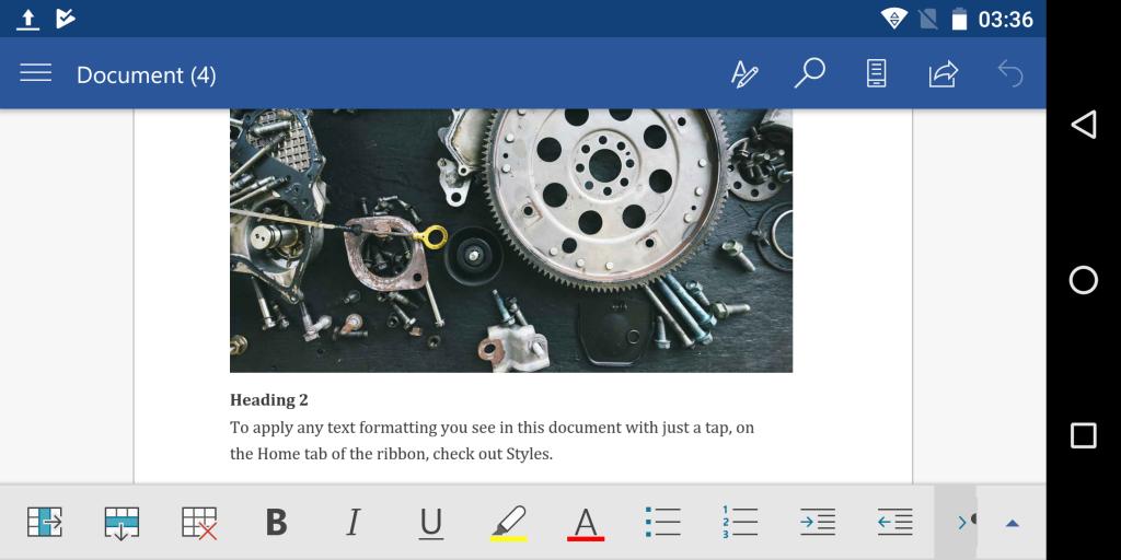 Microsoft Word on Gemini PDA