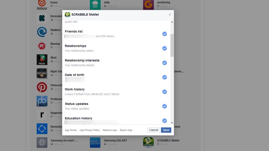 Scrabble Facebook data