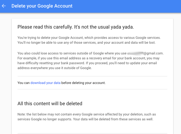 Delete Google data