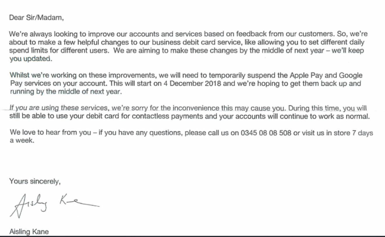 Metro Bank letter