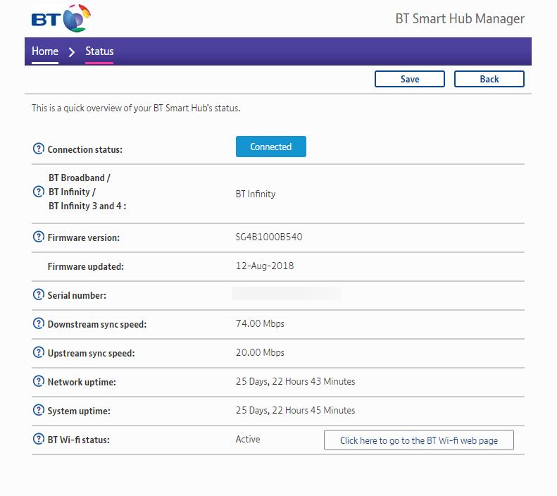 BT Smart Hub status