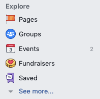 Saved Facebook menu