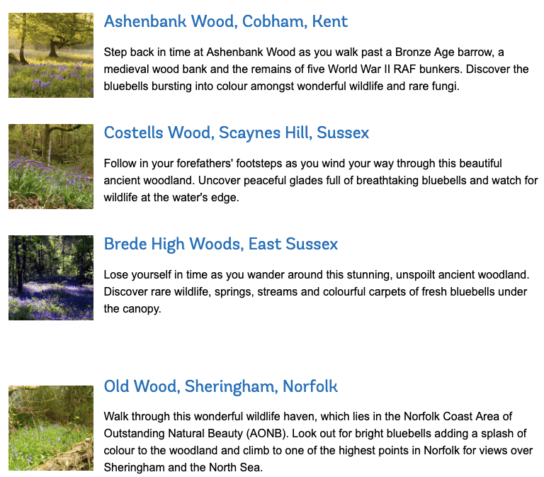 Woodland Trusts list of woods