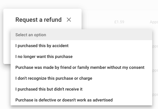 Google Play refund reasons