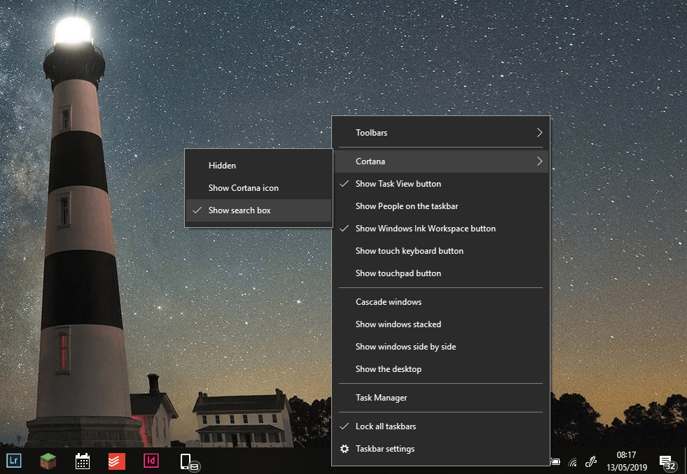 Windows 10 search bar missing
