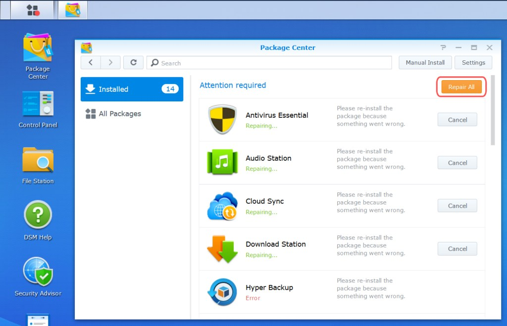 Synology DSM Screenshot:  Package Repair