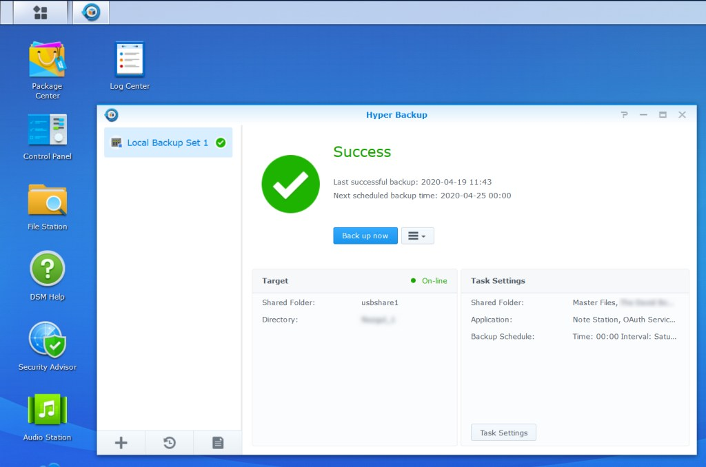 Synology DSM Screenshot:  USB backup