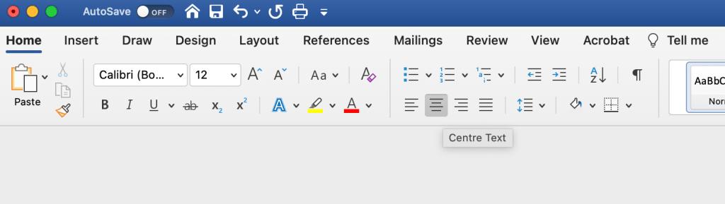 Microsoft Word centre text