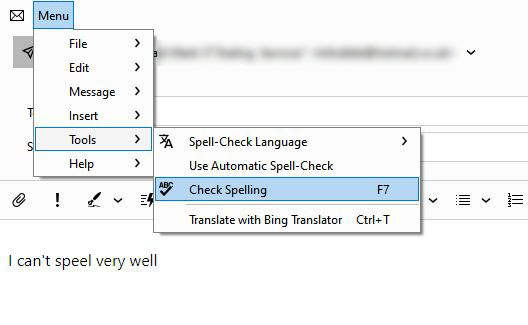 disable automatic spell checker eM client