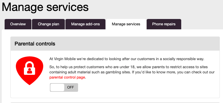 Virgin Mobile parental controls