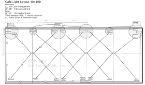Café lights layout diagram for a 40x100 rope and pole tent