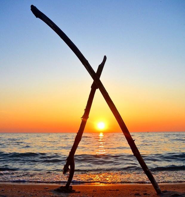 Stick art sunset at Wasaga Beach