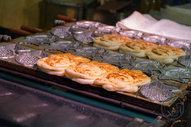 Taiyaki being made by a street vendor in Kyoto, Japan