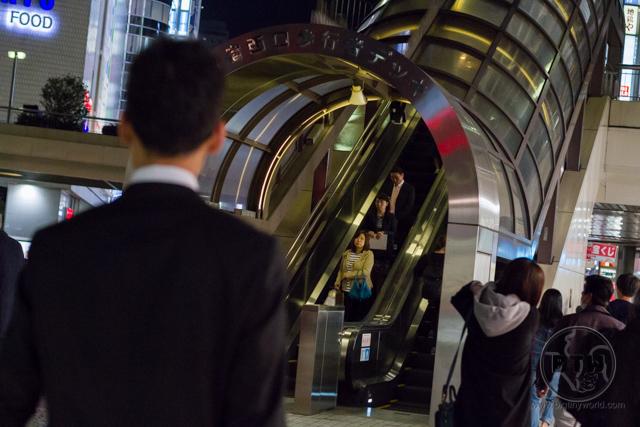 An escalator in Tokyo, Japan