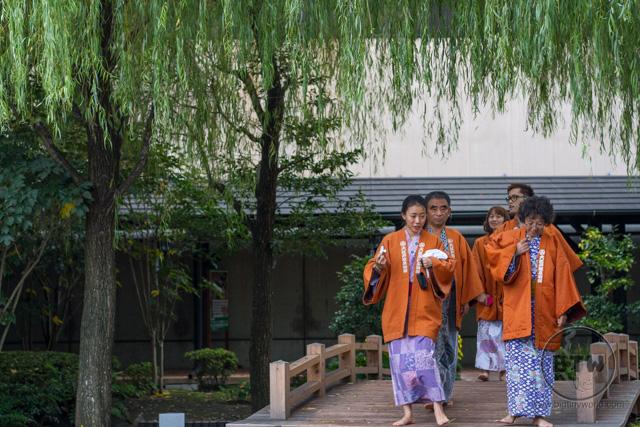 Visitors in yukata at an onsen in Tokyo, Japan